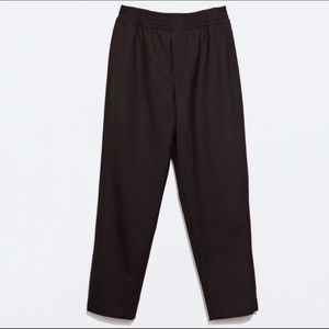 Zara High Rise Black Trousers with Elastic Waist